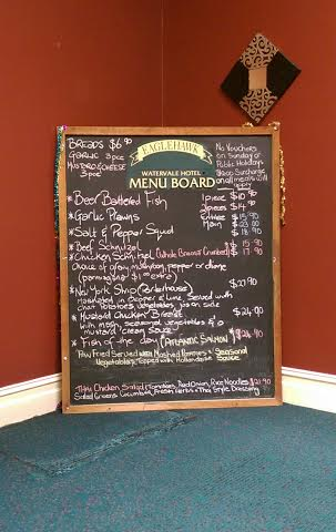 Watervale Hotel Menu Board