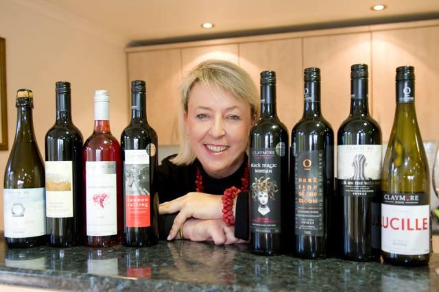 Claymore Wines cellar door manager, Chrissy Van De Jeugd with Claymore range of wine.